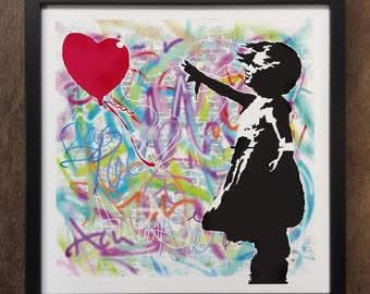 Banksy Girl With a Balloon Street Graffiti - Framed Art Print ART82