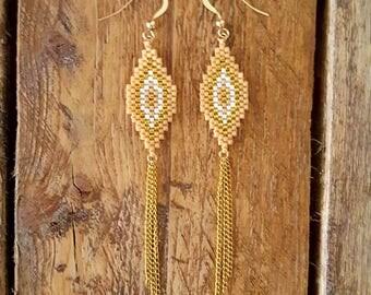 BAHIA Beige Latte EARRINGS gold plated and glass Miyuki beads weaving