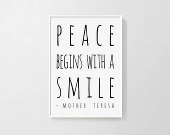 mother teresa quotes poster Printable wall art, Minimalist home decor Inspirational art Smile quote Digital print INSTANT DOWNLOAD