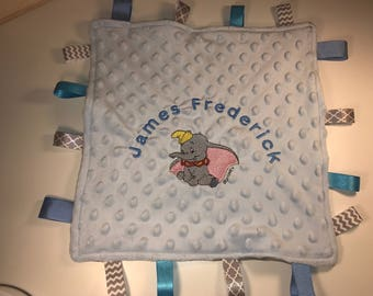Luxury Personalised Baby Gift Dumbo Taggy Blanket, Comforter, Newborn Baby Shower Blue or Pink