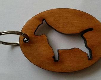 Wooden Maple English Bull Terrier Keyring