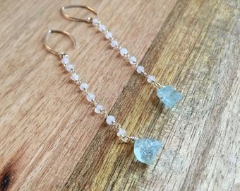 Aquamarine Earrings - Moonstone Earrings - Silver Moonstone Earrings with Aquamarine - Gift for Her - Bridal Earrings - Wedding Jewelry