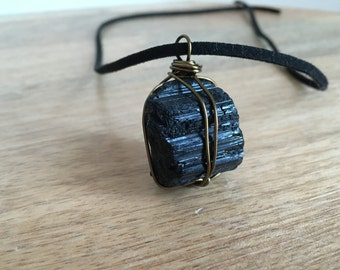 Raw Crystal Stone Necklace - Black Tourmaline Necklace - Raw Stone Necklace - Healing Necklace - Protection Necklace