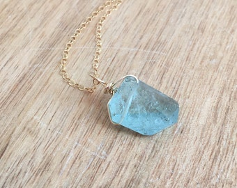 Aquamarine Necklace - Aquamarine  Jewelry - Aquamarine - Gold Necklace  - Gift for her