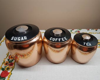 Kromex Copper Canisters, Vintage Spun Aluminum Canisters