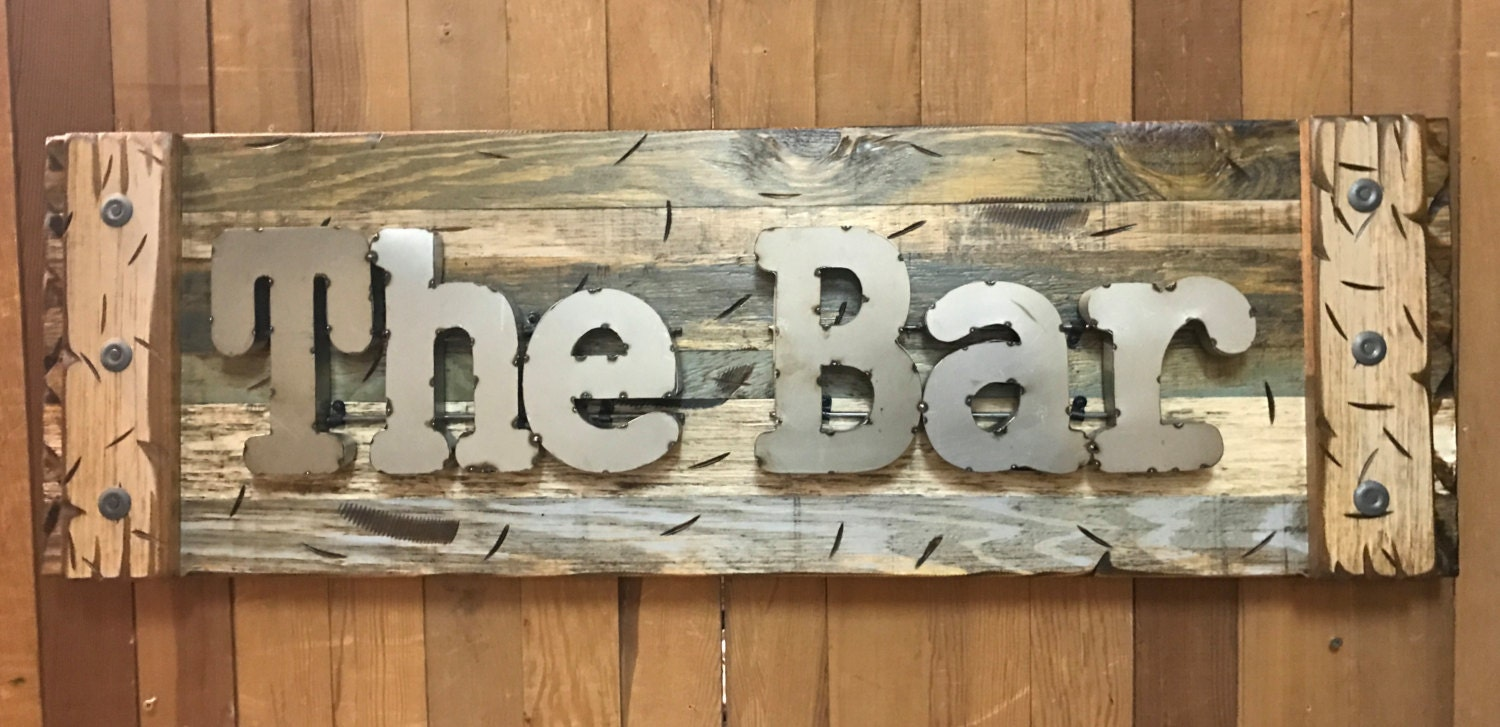 The BAR Rustic Sign Reclaimed Shutter Distressed