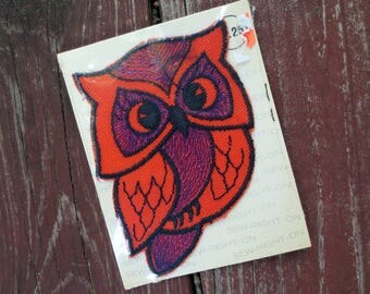 1970s Orange Owl Vintage Applique in Package, Talon New Old Stock, 7020, 4 in