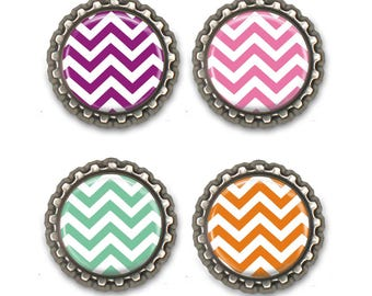 Chevron Magnets -Set of Four Bottle Cap Magnets -  Refrigerator Magnets
