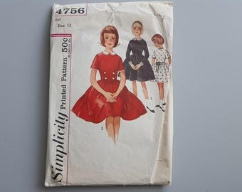 Vintage 1950's Sewing Pattern Simplicity 4756 Detachable Peter Pan Collar and Cuffs Size 12