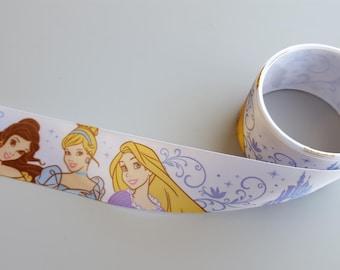 "1.5"" Disney Princess Satin Ribbon 3 yards White Ribbon with Belle, Cinderella and Repunzel"