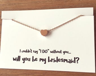 """The Little Rose Gold Heart Necklace - Complete with """"Will you be my Bridesmaid"""" Gift Wrap"""