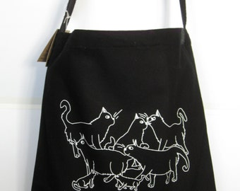 Warrior Cats - Sling bag in black with original art by emily burke