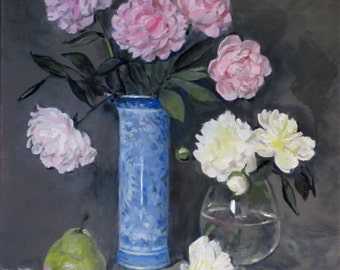 Pink Peonies in Museum Reproduction Blue & White Chinese Vase, White Peonies in Glass Vase,Oil on Linen, 24x20, Unframed