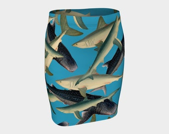 SHARKS!  Fitted Skirt A-Line Fish Animal Ocean Sea Turquoise Blue Clothes S-M-L-XL  Wearable Art/A-Line/Clothing/Women/Skirts/Clothes/Teen