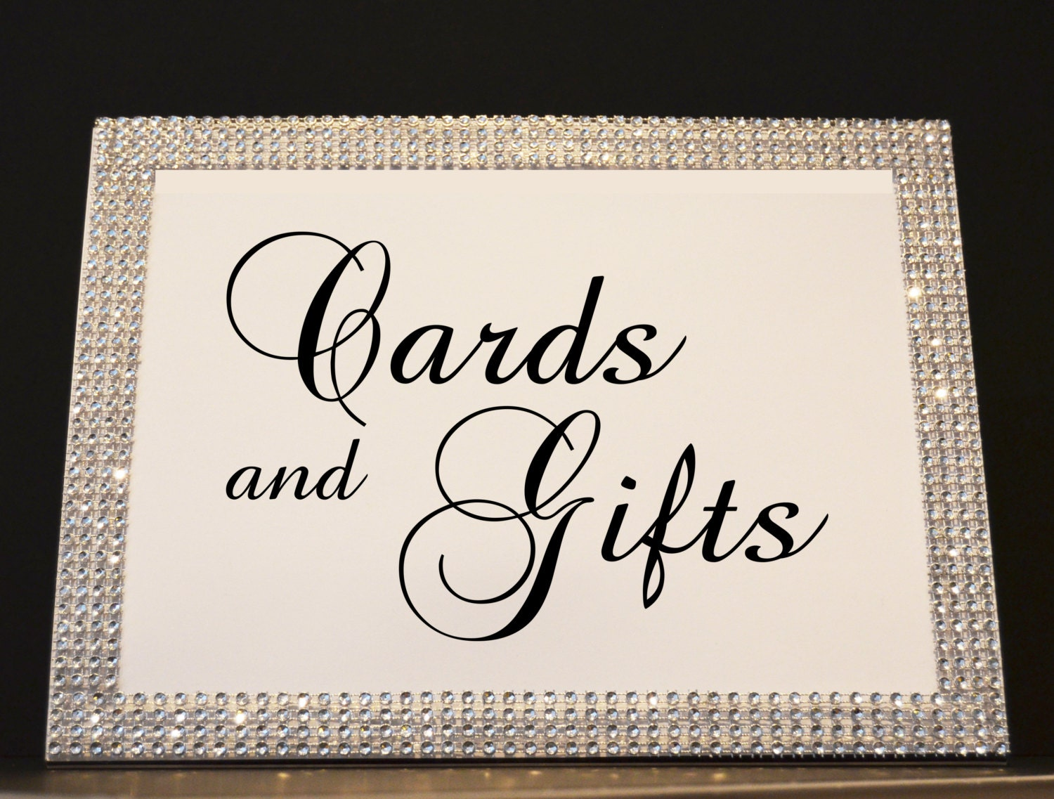 rhinestone wedding sign 8x10 frame with cards and gifts sign