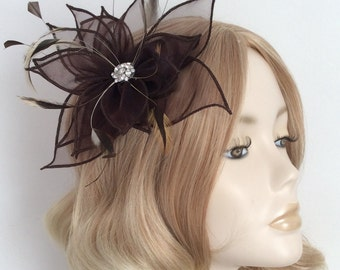 CHOCOLATE  ORGANZA FASCINATOR, With feathers, Crystal detail, on clip
