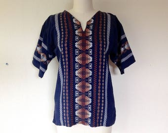 1970s Mexican embroidered shirt