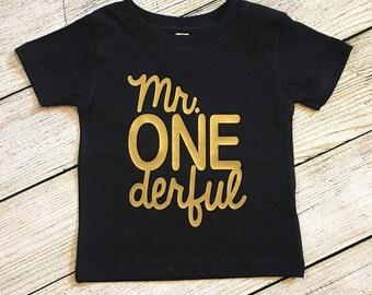 Mr. ONEderful First Birthday Shirt   smash cake   boy   one-der-ful   choose colors   one derful   Choose Color