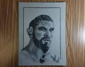 Khal Drogo Charcoal Drawing