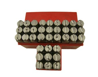 Big Size 1/2 inch, 12.5mm Metal Punch Stamp Set, Large Uppercase Letters & Numbers Stamp Set; Metal, Wood, Plastic and Leather Punches