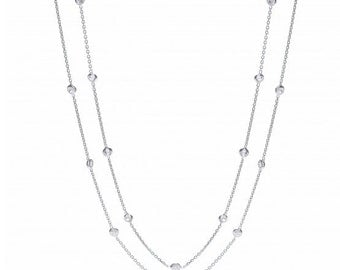 Sterling Silver 23 Cz's Chain Necklace 40""