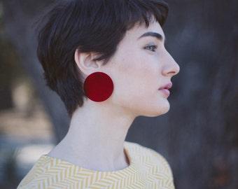 Transparent Red Earrings / Clip On Earrings