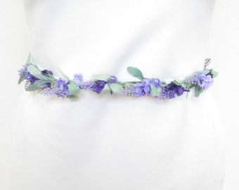 Lavender Flower Belt Bridesmaid Sash Wedding Bridal Ivory White Purple Vtg 1054