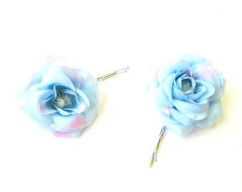 2 x Light Blue Rose Flower Hair Grips Clips Bobby Pins Slides Bridesmaid 2161