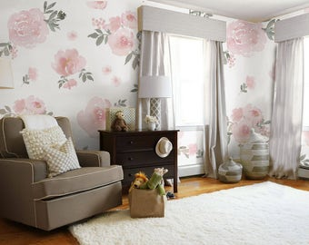 Soft Pink Pastel Floral Mural • Easy to Apply Removable Peel 'n Stick Wallpaper in Custom Colors!