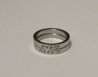 Stamped Rings, Children Name Rings, Family Rings, Set of 2 Rings, Kids Name Rings, Childrens Names, Handstamped Rings, Mother Gift, Stamped
