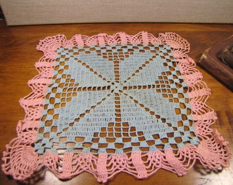 Pink and Blue Crocheted Doily - Square - Scalloped Edge