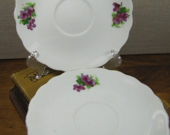 Two (2) Unmarked Porcelain Saucers - Purple Flowers - Scalloped Rim - Gold Accent