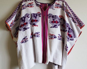 Guatemalan Huipil top poncho Embroidered handwoven boho hippie brights pink purple traditional Quiche S/M/L/XL birds chicks ethnic handmade