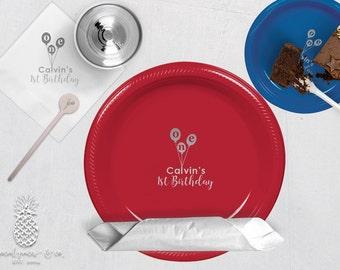 Personalized Plastic Cups | Personalized Plastic Plates | Monogram Napkins | Personalized Stir Sticks | 1st Birthday Plates, Napkins or Cups