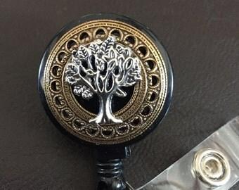 Tree of life badge holder, retractable badge reel, tree of life gift, eternity tree, badge clip