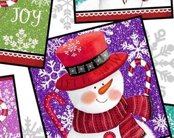 "Winter fabric, Christmas Fabric, Snowman Fabric, Quilting Treasures ""Sweet Season Snowman Patch"" - Cotton, 1 Yard"