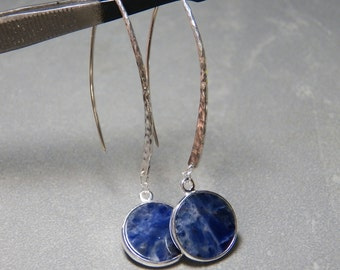 Sodalite Gemstone Earrings with Hammered Sterling Silver Wires