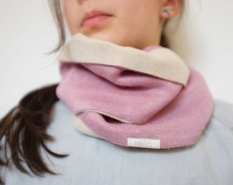 Infinity scarf from hemp FREE SHIPPING, Girls loop scarf, Girls infinity scarf, Hemp kids clothing, Pink scarf