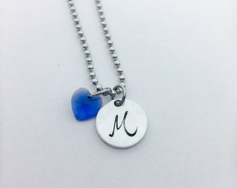 Initial necklace, hand stamped necklace, Swarovski heart necklace, Custom necklace, Monogram jewlery, Personalized necklace