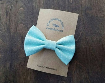 Mint mini hearts hair clip headband bow tie