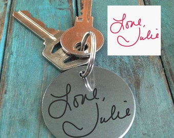 Handwritten Keychain Mom's Handwriting Laser Engraved - Brushed Stainless Steel Gift-