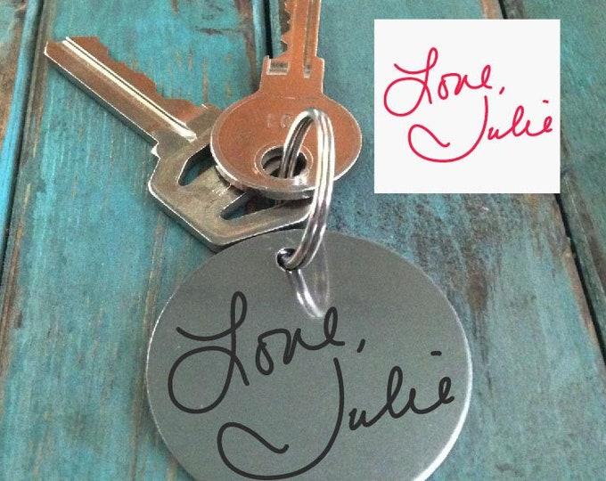 Handwritten Keychain Mom's Handwriting Laser Engraved - Brushed Stainless Steel Gift-Christmas gift