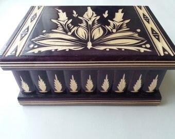 New big huge deep violet puzzle box secret treasure adventure mystery magic hunting box jewelry storage wood case hidden chest drawer box