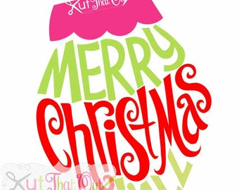 EXCLUSIVE Merry Christmas Y'all Ornament Design SVG & DXF Cut File