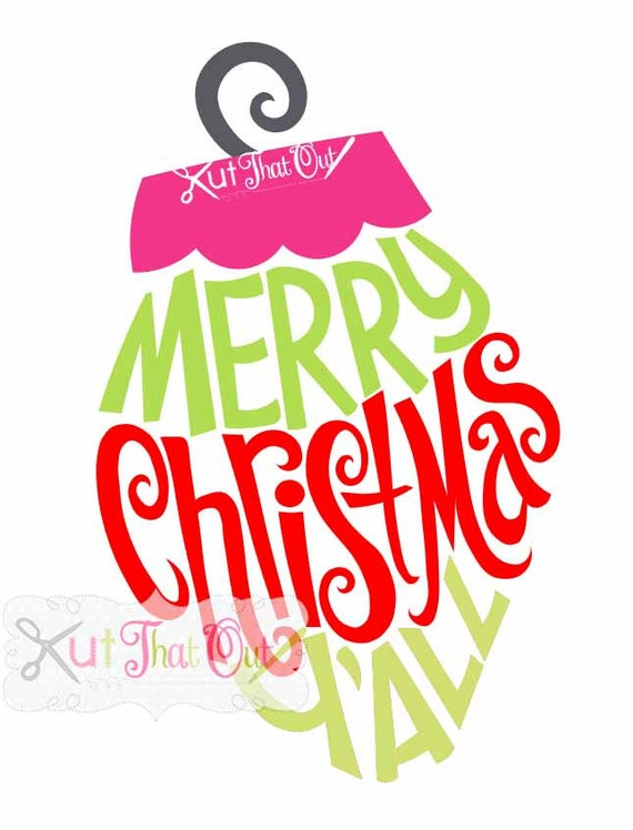 exclusive merry christmas y all ornament design svg dxf