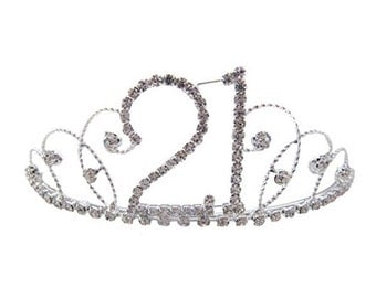21st Birthday Diamante Crystal Tiara - Silver Plated Finish