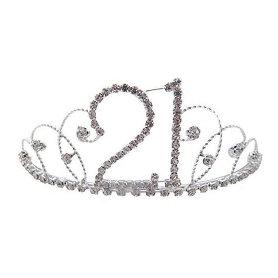 21st Birthday Diamante Crystal Tiara Silver Plated Finish