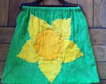 green terrycloth beach summer bag, bright yellow flower
