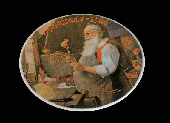 1984 Knowles Collector Plate, Norman Rockwell, Santa In His Workshop, Limited Edition, Christmas Plate, Decorative Plate, Collectible Plate