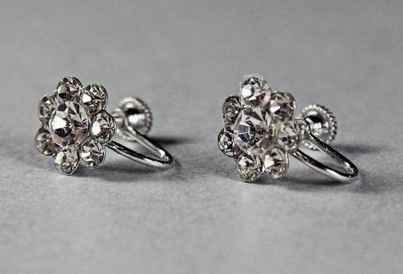 Cluster Earrings, Screw Back, Rhinestone, Silvertone, Costume Jewelry